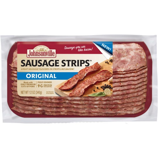 Johnsonville Sausage Strips come in four flavors, original, spicy, maple flavored and chorizo.