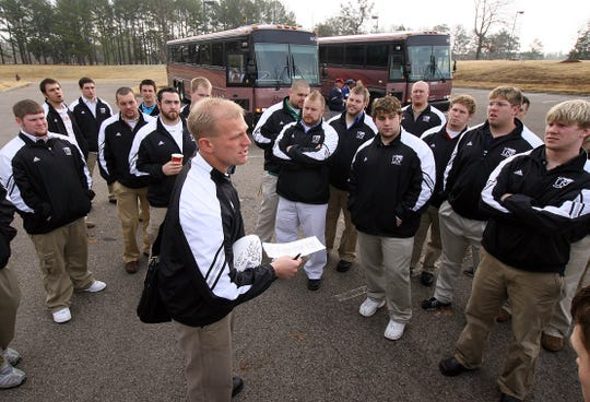 University of Sioux Falls head football coach Kalen DeBoer talks to his team the week of the 2006 national championship game in Savannah, Tenn.
