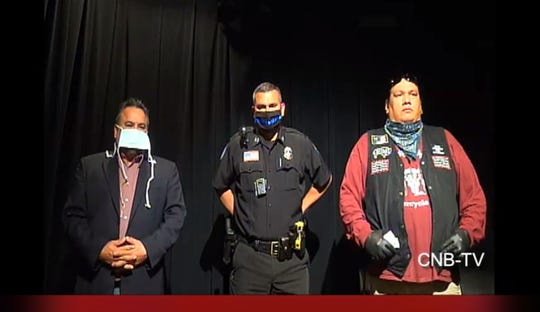 """Sisseton Wahpeton Oyate Tribal Chairman Donovan White, Police Chief Gary Gaikowski and Enemy Swim District Leader Delbert """"Roly"""" Hopkins Jr. advise people in the Lake Traverse Reservation area to adhere to social distancing guidelines amid coronavirus spread concerns."""