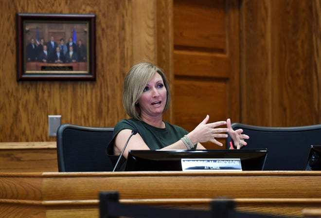 Councilor Christine Erickson raises a question regarding outdoor recreation at the first reading of the proposal to ease occupancy restrictions in businesses on Friday, May 1, at Carnegie Town Hall in Sioux Falls.