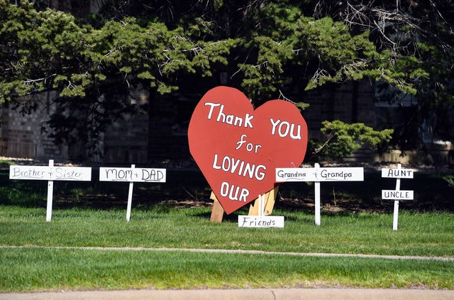A sign thanking workers a the Good Samaritan Assisted Living complex is staked in the front yard on Friday, March 1, in Sioux Falls.