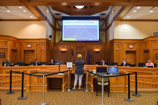 Public Health Director Jill Franken addresses the city council at the first reading of the proposal to ease occupancy restrictions in businesses on Friday, May 1, at Carnegie Town Hall in Sioux Falls.