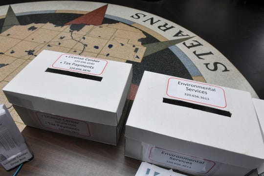 Drop boxes are available for several county departments Friday, May 1, 2020, at the Stearns County Administration Center in St. Cloud.