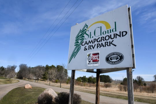 A sign marks the entrance to the St. Cloud Campground & RV Park Tuesday, April 21, 2020, in St. Cloud.