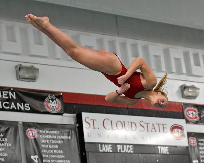 St. Cloud State freshman Meredith Matchinsky performs a dive in a dual meet against UW-La Crosse Thursday, Jan. 16, 2020, at Halenbeck Hall Aquatic Center.