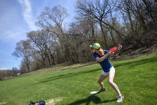 Shelby Sanborn winds up while teeing off Monday, April 27, 2020, at the Airborn Disc Golf Preserve in Clearwater.