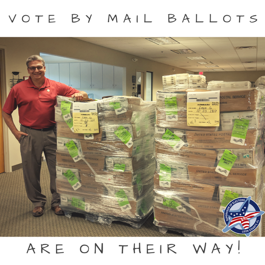 Supervisor Mark Earley stands next to a pile of Vote-By-Mail ballots.