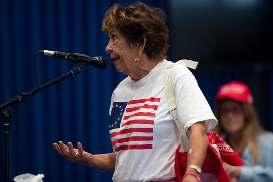 """Audrey Kane, of Hobe Sound, speaks to the Martin County commissioners during public comment at a meeting discussing the reopening of boat ramps, park amenities and beaches Friday, May 1, 2020, at the Blake Library in Stuart. """"Please consider opening the beaches for people's sanity,"""" Kane said."""