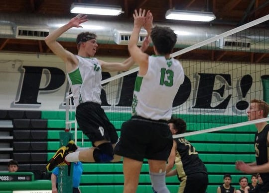Sean Schmutz, left, broke the Thousand Oaks High single-season record for total blocks with 90 during his junior season. He was primed to break the mark again in his senior year before COVID-19 pandemic prematurely ended the volleyball season.