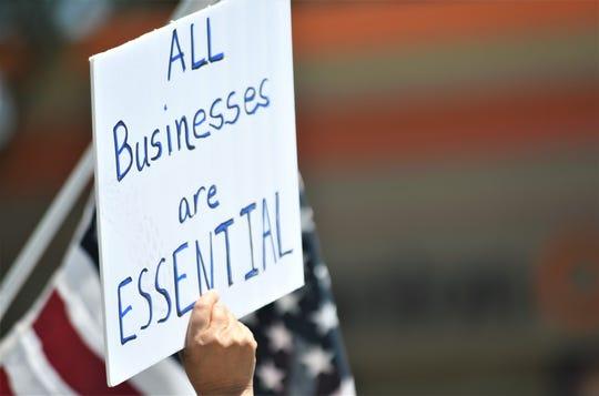 Nearly 300 people in Visalia urged Gov. Gavin Newsom to reopen California on Friday, May 1, 2020.