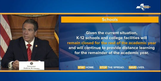 Gov. Andrew Cuomo said Friday schools will stay close through the academic year.