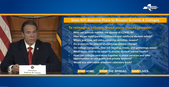 Gov. Andrew Cuomo showed what the reopening plans will be for schools during a press briefing on May 1, 2020.