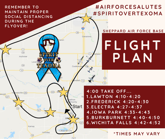 A map of the flight plan during the Sheppard Air Force Base Spirit Over Texoma flyover.
