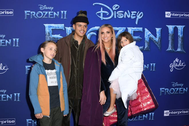 """Ashlee Simpson, husband Evan Ross, daughter Jagger Snow Ross and Simpson's son Bronx Wentz arrive for Disney's World Premiere of """"Frozen 2"""" in Hollywood on November 7, 2019."""
