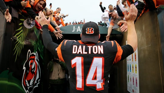 Andy Dalton leaves Cincinnati after nine seasons with the Bengals.