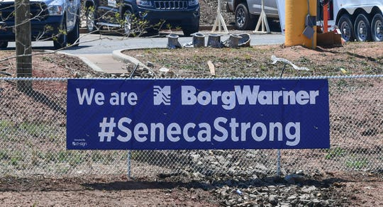 "A sign ""We are BorgWarner #SenecaStrong"" is on the fence where workers repair the tornado damaged plant in Seneca Saturday, May 2, 2020. Tornadoes ripped through the South, including Seneca in the early morning on Monday, April 13, 2020. People can donate checks payable to United Way Oconee Tornado Relief fund to United Way of Oconee County, or make a check payable to Seneca Tornado Relief Fund, at Seneca City Hall or Oconee Federal Savings and Loan Association, or mail to Seneca City Hall, PO Box 4773, Seneca, SC, 29679."