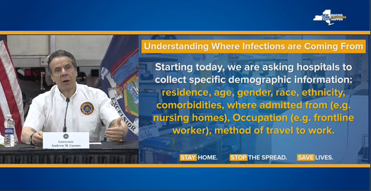A slide shown by Gov. Andrew Cuomo on May 2, 2020, shows how  New York will ask hospitals for more information on where new cases of coronavirus deaths are coming from.