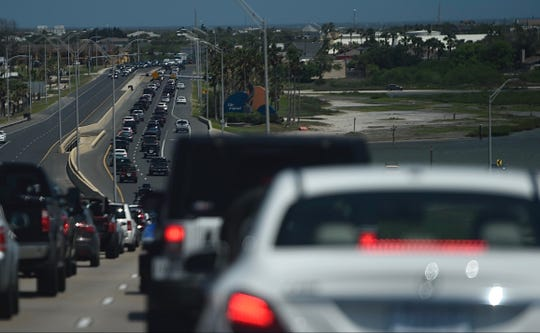 Traffic was backed up on the JFK Causeway towards North Padre Island around 2:30 p.m. on Saturday, May 2, 2020.