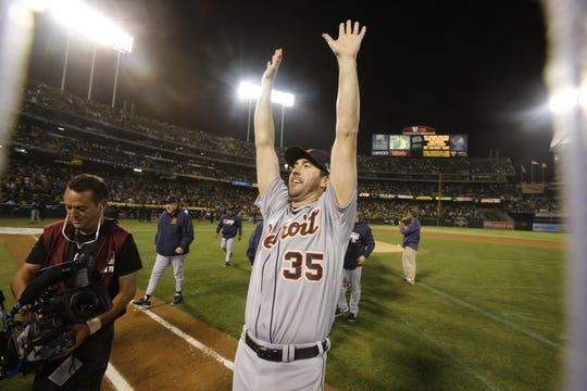 Justin Verlander celebrates the 3-0 win against the A's in Game 5 of the 2013 ALDS.