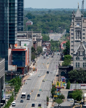 Traffic is light on Broadway as many businesses remain closed in Nashville, Tenn., Saturday, May 2, 2020.