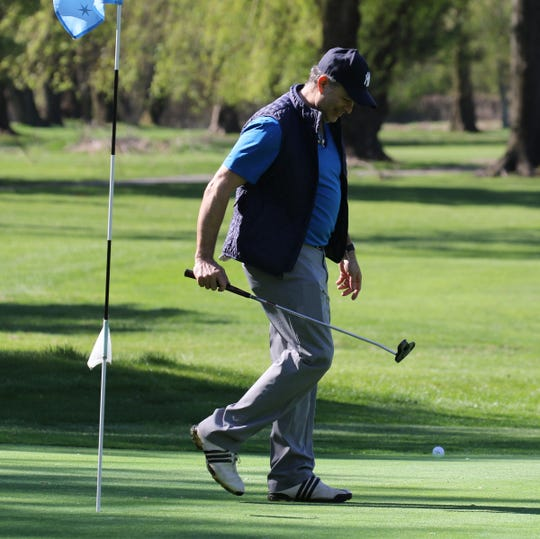 Milton D. of Fort Lee after finishing on the ninth green. Two Bergen County golf courses including here at Soldier Hill Golf Course in Emerson opened today May 2, 2020 after being closed due to COVID-19.