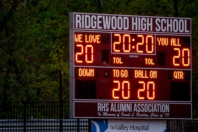In conjunction with #BeTheLight national initiative, Ridgewood High School Stadium turns on the field lights and scoreboard to honor the senior athletes and performing arts students on Friday May 1, 2020.