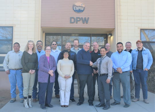 Pre-social distancing orders, the teams from WSMR and SCSWA pose for a photo to mark the success of the first collaboration of its kind – recycling and solid waste management – between a City/County agency and WSMR in the installation's history.