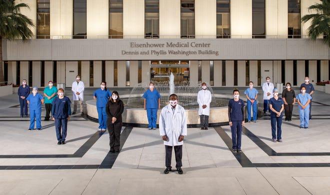 Eisenhower Health staff demonstrate the six-feet-apart COVID-19 mandate.
