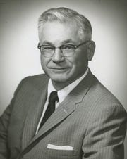 """George Wheeler, publisher of the Villager Magazine, named """"Mr. Villager"""" in 1955 by Mayor Florian Boyd."""
