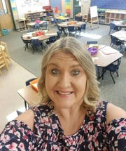 Kindergarten teacher Jennifer Zamenski in her empty classroom at Broadmor Elementary School before the start of the school year.