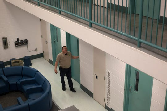 Lt. Richard Bittick​ at the Polk County Jail in Dallas, Ore. on May 1, 2020. The jails inmate population is down 75% because of restrictions needed to prevent the spread of COVID-19.