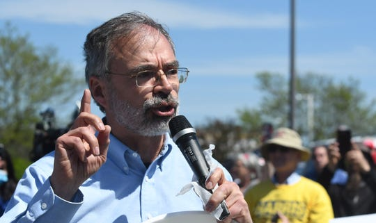 Congressman Andy Harris speaks to the crowd at The Reopen Maryland rally Saturday in the parking lot of Kohl's in Salisbury Saturday, May 2, 2020. The protest was originally supposed to be at the Centre at Salisbury, but owners of the mall and Salisbury Police shut the parking lot down. (Photo by Todd Dudek for The Daily Times)