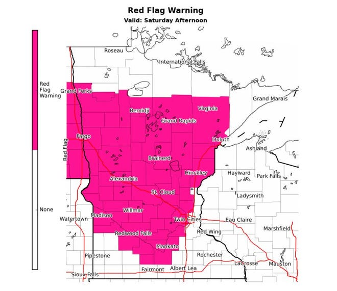 Red flag warning area for Saturday, May 2, 2020