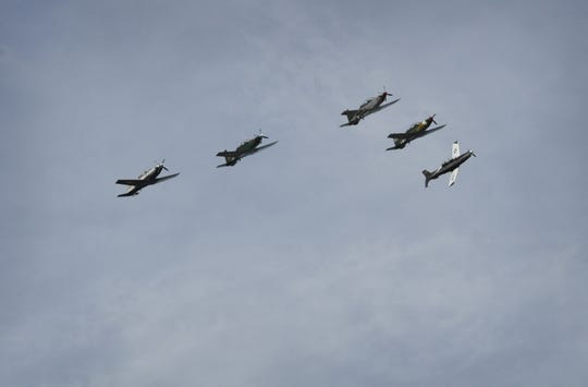 A formation of T-6 planes from Sheppard Air Force Base flies over United Regional Hospital Friday afternoon in a mission of gratitude called Operation Spirit Over Texoma to thank all the healthcare professionals and their work against COVID-19.
