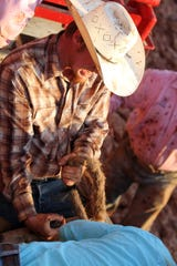 Ethan Richardson gets ready in bronc riding at the Wichita County Mounted Patrol Championship Rodeo Saturday, June 4, 2016, at the Wichita County Mounted Patrol arena.