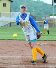 Philo Electric's pitcher Hayley Flynn pitches against Dover in a Division II District championship in 2011 at River View. Flynn was a four-year starter who pitched at Eastern Kentucky.