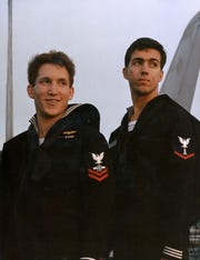 AW2 Michael Wise (left) and his cousin PH3 Ron Erdrich aboard the aircraft carrier USS Kitty Hawk, anchored at Naval Air Station Cubi Point, Republic of the Philippines sometime in early 1987.