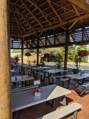 Jazzy's Mainley Lobster in Cocoa Beach has plenty of outdoor seating ready for diners Monday.