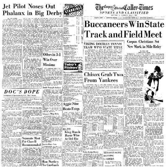 The Corpus Christi Caller-Times sports section from May 4, 1947, after Corpus Christi High School claimed the city's first state title in the sport.