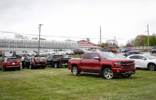 The parking lot is full at Goode Greenhouse in Des Moines on Saturday, May 2, 2020.