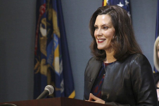 Gov. Gretchen Whitmer is shown during a coronavirus news conference Friday, May 1, 2020.