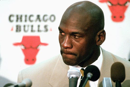 Chicago Bulls' Michael Jordan announces his retirement from professional basketball during a news conference at the Bulls training facility in Deerfield, Ill., Oct. 6, 1993.