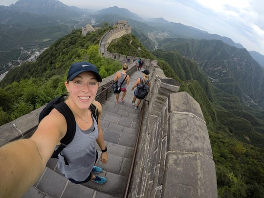 Brighton's Shiann Darkangelo visited the Great Wall of China when she played hockey in Shenzhen, China.