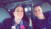 Stacy Steele, left, and Jennifer Schiller of St. Louis have been assigned as partners during their deployment to the New York area to help ease the increased need in emergency medical services.