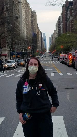 Stacy Steele, an Evansville EMT, was deployed to the New York area to help first responders handle a surge in demand.