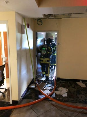 Fire in a second-story room effectively shut down the Quality Inn motel along Business Way in Lehigh Acres Sunday morning.