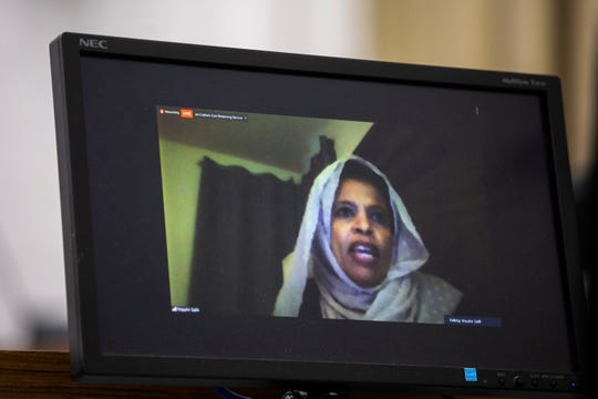 Iowa City councilor Mazahir Salih is seen on a monitor while speaking during a council meeting that is being held on a video conferencing system due to the coronavirus pandemic, Tuesday, April 21, 2020, at the Emma J. Harvat Hall inside City Hall in Iowa City, Iowa.