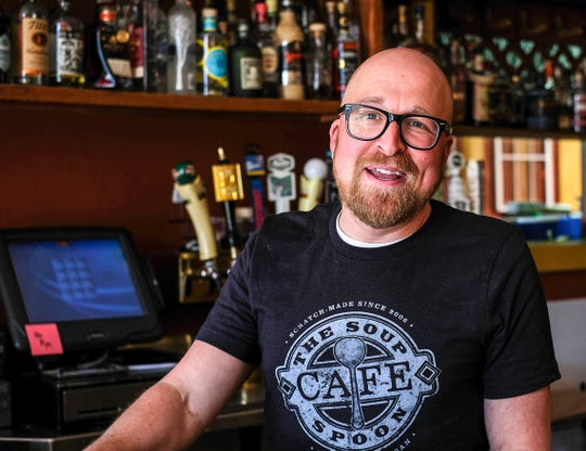 Keith Buchele, General Manager at The Soup Spoon Cafe in Lansing talks about the support of his regular customers and others as they stay open for take-out business during the COVID-19 coronavirus pandemic Saturday, May 2, 2020.