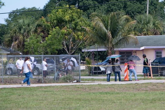 Immokalee residents line up outside the Collier County Health Department in Immokalee for a  COVID-19 testing on Sunday, May, 3, 2020.