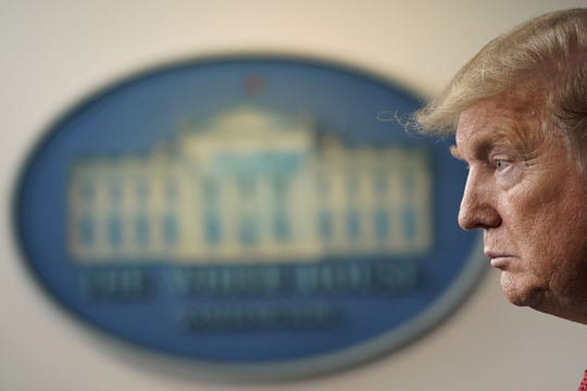 President Donald Trump participates in a news briefing with members of the Coronavirus Task Force at the White House in Washington, D.C., on Thursday, April 16, 2020. (Chris Kleponis/Pool/Sipa USA/TNS)